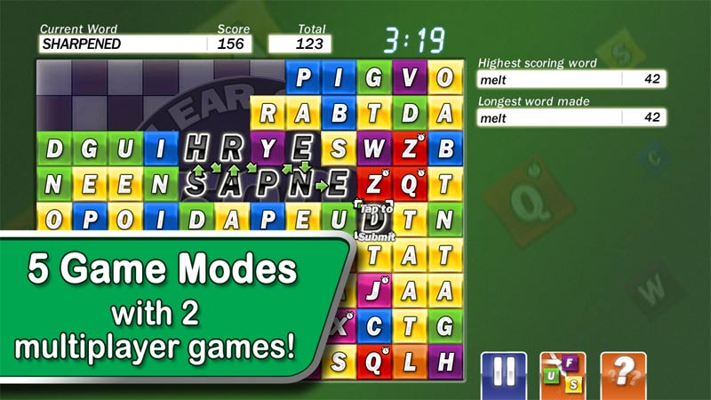 Word game with 5 modes